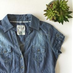 Promod Chambray Shirt Super soft and lightweight chambray shirt in excellent preowned condition.  Tag says it's a UK size 10. Promod Tops Button Down Shirts