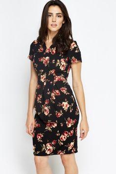Pleated waist #Black #Floral #Dress #fashion #style #summer2016