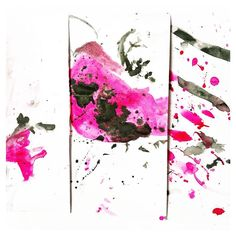 """Artwork created by a 3y.o 20 month old and 30-something y.o. (It looked too fun not to join in.)  This #invitationtocreate involved water paintbrushes ink and ink droppers on watercolour paper. In my mind we would paint water onto the paper and then drop ink onto the water to watch the ink run. Everybody had their own way of doing it. Miss 3 was intent on painting the pink ink onto the paper then finger painting black dots on to """"make a cheetah."""" I had to repeatedly refrain from saying """"No…"""