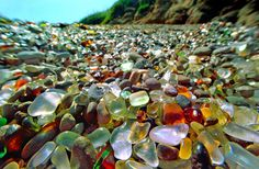 "Glass Beach, Fort Bragg, California. What was once a dumping zone is now a ""glass beach"". Beauty -  distilled from what was once a disaster zone."