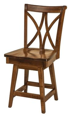 """Amish Callahan Bar Stool with Swivel These bar stool backs are sure to attract attention. Your choice of 24"""" counter height or 30"""" bar height."""