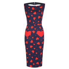 I have this and love it!!!! Bonbon Navy Heart Print Wiggle Dress | Vintage Style Dress - Lindy Bop.