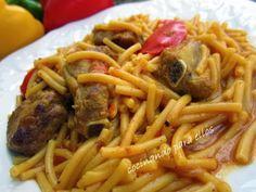 Cocinando para ellos : FIDEOS PERLA CON COSTILLA Pasta Recipes, Risotto, Spaghetti, Ethnic Recipes, Food, Snacks, Eggplants, Rice, Ethnic Food