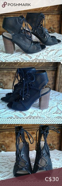 Aldo black mesh lace up high heel Aldo black lace up mesh with wooden heel. Tan Strappy Heels, Black Pointed Heels, Aldo Heels, Sparkly Heels, Ankle Strap Heels, Shoes Heels, Cream High Heels, Lace Up High Heels, Brown Leather Shoes