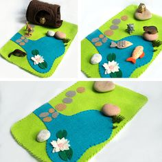 Felt play mat Quiet time mat Pond playscape for pretend