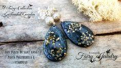 Orecchini pasta polimerica fimo  fiori naturali pressati stardust gioielli botanici, by Evangela Fairy Jewelry, 12,00 € su misshobby.com