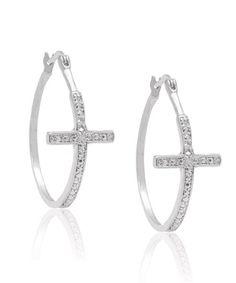 Diamond Silver Cross Hoop Earrings