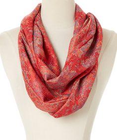 Look what I found on #zulily! Red & Orange Paisley Cashmere-Silk Blend Infinity Scarf #zulilyfinds