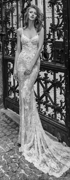 netta benshabu 2017 bridal spaghetti strap sleeveless full embellishment elegant sexy sheath wedding dress medium train (18) mv -- Netta BenShabu 2017 Wedding Dresses