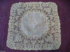 Antique 1850 Handmade Belgian Point d Gaz / de Gaze Needle Lace Handkerchief