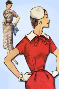 1950s Vintage Simplicity Sewing Pattern 1039 Uncut Misses Slender Dress Size 30B #Simplicity #DressPattern