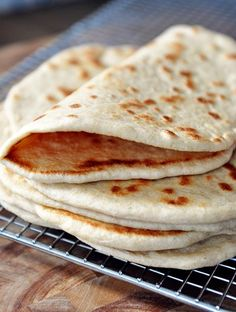 This flatbread, or pocketless pitas, are so good. The make a great pizza crust, fabulous wraps, or plain delicious snack dipped in hummus.