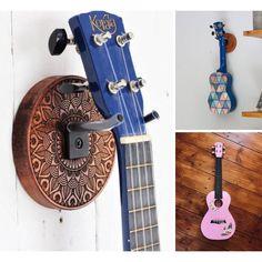 Guitar Wall Holder, Ukulele Wall Mount, Guitar Hanger, Ukulele Stickers, Ukulele Design, Handmade Wooden, Etsy Handmade, Banjos, Forged Steel
