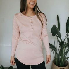 Little & Lively - Women's Long Sleeve Henley Shirt | Rosewood – The Kindred Studio Women's Henley, Henley Shirts, Kids Pajamas, Pajamas Women, Long Sleeve Outfits, Long Sleeve Henley, Sustainable Fashion, British Columbia, North America