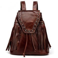 Bolso de viaje retro en línea remaches mochilas de cuero Vintage con flecos  para las mujeres f5ff6a9e20ab