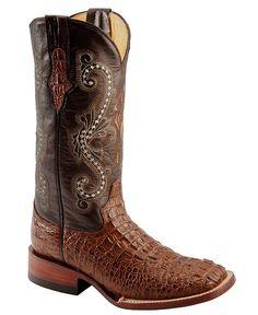 Ferrini Rusty Caiman Print Cowgirl Boots - Wide Square Toe
