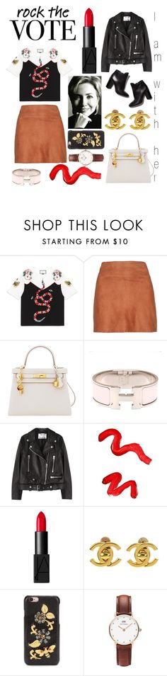 """Rock the vote 🤘"" by wipsy ❤ liked on Polyvore featuring Gucci, Alice + Olivia, Pierre Hardy, Hermès, Acne Studios, Topshop, NARS Cosmetics, Chanel, Dolce&Gabbana and Daniel Wellington"