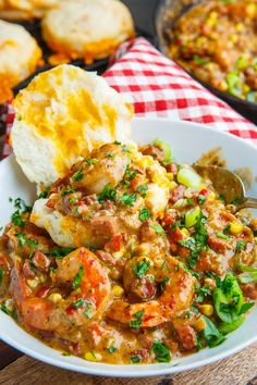 A recipe for Cheddar Biscuits and Shrimp and Andouille Gravy : Biscuits and gravy Cajun style with a tasty shrimp and andouille sausage gravy! Biscuits and gravy Cajun style with a tasty shrimp and andouille sausage gravy! Cajun Dishes, Shrimp Dishes, Cajun Cooking, Cooking Recipes, Healthy Recipes, Cajun Food, Kitchen Recipes, Cooking Tips, Fish Recipes