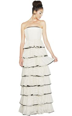 AURORA STRAPLESS LONG RUFFLE TIERED GOWN