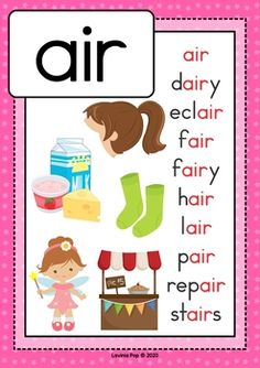 Digraph / R-Controlled Vowel AIR: Phonics Word Work {Multiple Phonograms} by Lavinia Pop Phonics Lessons, Teaching Phonics, Teaching Kids, Toddler Learning Activities, Kindergarten Activities, Word Family Activities, Work Activities, English Worksheets For Kids, English Activities