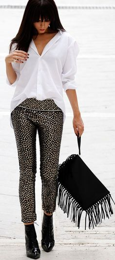 Isabel Marant Black Stud and Sequin Embellished Crop Boho Pant by Styleheroine