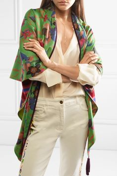 Etro - Reversible suede-trimmed printed cashmere and silk-blend scarf Black Suede, Duster Coat, Cashmere, Kimono Top, Silk, Prints, Jackets, Winter, Tops