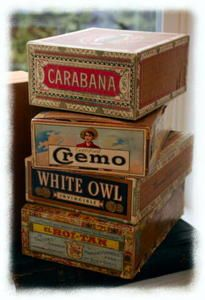 CRAZY FOR CIGAR BOXES ! Even tho i own none ...i love them ! SEXY! Just can't always have what i want w/ kids around ....would design a really great cigar gentleman's room if i could w/ brown leather ,brass and cigar boxes and trophy deer heads and stuffed fish! lol and of course an awesome pool table!