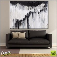 Franklin Art Studio modern abstract paintings by Franko. Gorgeous black and white abstract painting with a heavy textured base for home or office. Online or commission new. #abstractart