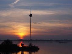 vogels in de lucht bij de ondergaande zon. bayke foto.