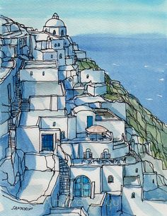 Titel: Santorini Fira 1  This is a print from my original pen drawing and watercolor painting. Printed on Epson Archival Matte Paper, 192 g/m², with