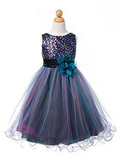 1d8dd46628b Amazon.com  Sparkly Sequin Tulle Flower Girls Christmas Holiday Party Dress  Pageant Wedding Prom