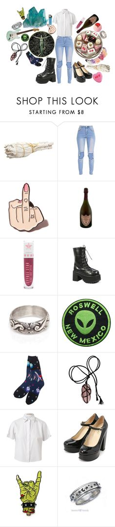 """two sides of the same coin."" by this-is-my-name-i-suppose ❤ liked on Polyvore featuring Local Heroes, Dom Pérignon, Demonia, Workhorse, Mormor and Christopher Kane"