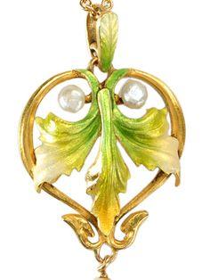 Krementz Art Nouveau Enamel Pendant - The Three Graces