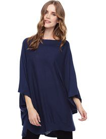 """Welcome the cold this season with open arms in the Cabin Side Poncho Boxy, over sized fit pairs perfectly with leggings or skinny denim V-neckline with ribbed detail down center front Open sides Handkerchief hem with wide ribbed trim Model is wearing size XS. She is 5'9"""", 34-23-34, dress 2"""