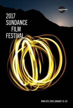 The official 2017 Sundance Film Festival poster features a representation of film as painting with light, against the silhouette of Mt. Timpanogos (near the Sundance Resort). 24 inches wide by 34 inch
