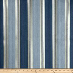 Waverly Spotswood Stripe Porcelain from @fabricdotcom  Screen printed on cotton duck; this versatile medium weight fabric is perfect for window accents (draperies, valances, curtains and swags), accent pillows, duvet covers and upholstery. Create handbags, tote bags, aprons and more. Colors include shades of blue with ivory.