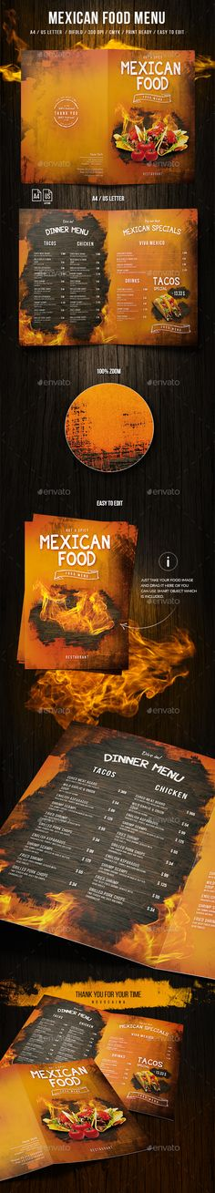 Mexican A4 and US Letter Food Menu — Photoshop PSD #rustic menu #mexican • Download ➝ https://graphicriver.net/item/mexican-a4-and-us-letter-food-menu/20000112?ref=pxcr