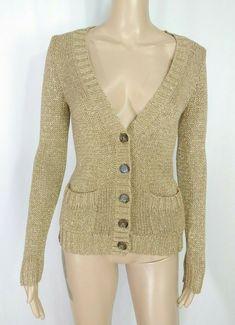 f9f8c014 J.CREW Gold Metallic V-neck Button Down Chunky Knit Dressy Sparkle Cardigan  XS