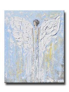 MoodBoard 1 GICLEE PRINT Abstract Angel Painting Blue White Guardian Angel Inspirational Art Spiritual Wall Art - Christine Krainock Art - Contemporary Art by Christine - 1 Canvas Art, Canvas Prints, Art Prints, Gold Wall Art, Art Abstrait, Angel Art, Texture Art, Light Painting, Original Art