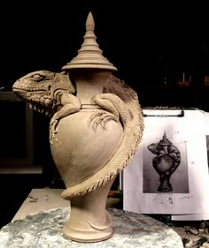 Grafton Pottery - Mitchell Grafton - Iguana Urn