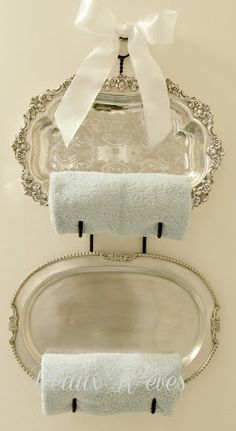 Beaux R'eves: Refreshing the Guest Room Bath silver trays and a bottle holder into towel holder Silver Platters, Silver Trays, Silver Tray Decor, Wine Rack For Towels, Towel Racks, Towel Holders, Plate Holder, Wine Racks, Plate Racks