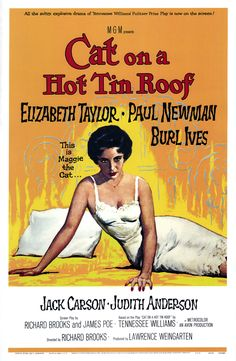 Here is the American one-sheet movie poster for Cat on a Hot Tin Roof (1958). One-sheets measured 27x41 inches, and were the poster style most commonly used in theaters.