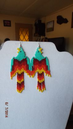 Native American Beaded Phoenix Turquoise Red by BeadedCreationsetc
