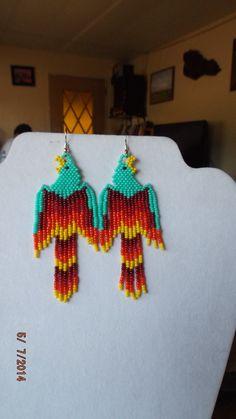 Native American Beaded Phoenix Turquoise Red by BeadedCreationsetc