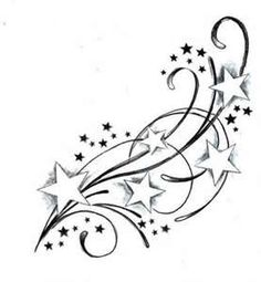 Like this, but with butterflies instead of stars, upright, then small stars going out from the top and two white butterflies for Mom and Dad.