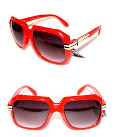 28f68b59a392 Men s Vintage 607 Sunglasses Run DMC Old School Red Gold Gazelle Hip Hop  80 s