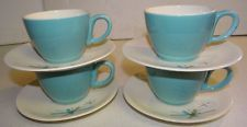 4 Salem NORTH STAR Turquoise Cup & Saucer Sets Vtg Atomic Retro Mid Century Mod