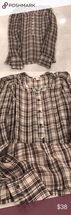 J. Crew Plaid Silk Blouse Black and white J. Crew plaid silk blouse in a size 8. Great condition!  No picks, pulls or snags! J. Crew Tops Blouses