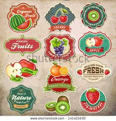 Collection of vintage retro grunge fresh fruit labels, badges and icons by Catherinecml, via ShutterStock  hmm