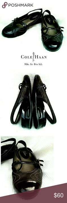 """COLE HAAN NIKE AIR BRIA BLACK LEATHER  SLINGBACKS COLE HAAN NIKE AIR BRIA BLACK LEATHER SLINGBACKS EUC- Like NEW! See Pics! *   Black 100% Genuine Leather *   Patent Leather Capital Toe & Mary Jane Straps *   Nike Air Technology for Comfort *   3/4"""" Wedge *   Size 8 1/2 AA Pls See All Pics. Ask ? If Needed Cole Haan Shoes Flats & Loafers"""